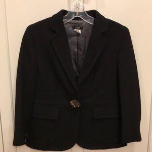J.Crew black cropped blazer w/ jewel button